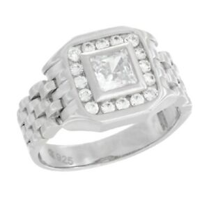 Herren Sterlingsilber Uhr Band Stil Quadratisch Ring W / Cubic Zirkonia Steine