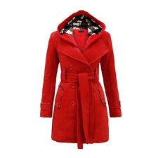 New Women's Warm Winter Hooded Trench Coat Wool Blends Long Jacket Outwear Tops