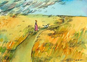 Archival ACEO PRINT - Walk before the Storm - landscape, mutt dog, woman, field