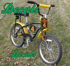 Vintage 1970's Huffy Thunder Road Yellow Bike AMF BMX bicycle, DECALS ONLY