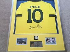 Pele Hand Signed Brazil Football Shirt Framed Display With COA Brazil Legend