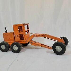 Vintage Tonka Road Grader Orange Diesel No. 600 Pressed Steel Toy Construction