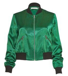 Alice + Olivia Lonnie Green Bomber Jacket Silk Cropped Size XS NWOT