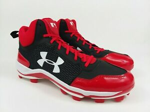 Under Armour Heater Mid TPU Baseball Cleats Black Red Men's Size 12 NEW