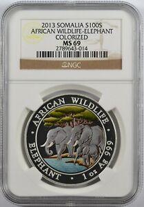 2013 Somalia African Wildlife Elephant 100 shillings Colorized MS 69