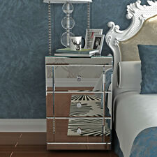 UK Modern Mirrored Bedside Cabinet/Bedside Table/Chest of 3 Drawers Silver New