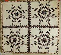 Vintage 1860's Pieced Stars Streak of Lightning Antique Quilt ~SAWTOOTH BORDER!