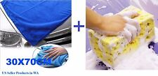 Towel + Sponge, Large Microfiber Auto Car Wash Cloth Cleaning Dry Towel + Sponge
