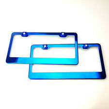 Two Candy Blue Stainless Steel License Plate Frame w/Aluminum Screw Cap Combo