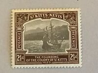 St Kitts-Nevis stamps KGV 2 1/2d black & brown 1923 Tercentenary of Colony MH