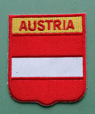 NATIONAL FLAG COUNTRY SHIELD SEW ON / IRON ON EMBROIDERED PATCH:- AUSTRIA
