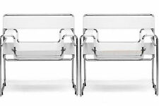 2 CREAM OFF-WHITE LEATHER STRAP MODERN WASSILY STYLE CHAIRS CHROMED STEEL FRAME