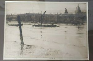 Low Tide (London) - ERNEST S. LUMSDEN original etching and drypoint