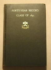 CLASS OF 1891 PRINCETON UNIVERSITY YEARBOOK for 40th ANNIVERSARY *Great Pictures