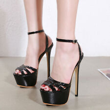 Womens Fashion Sexy Party Shoes Peep Toe Ankle Strap Sandals Slim High Heels