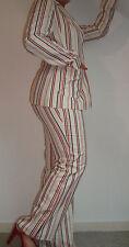 Tailleur Pantalon Beige Rayé Femme D.SPORT de Devernois Taille 40/42