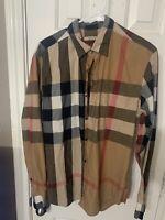 mens Check burberry brit Long Sleeve button Up shirt Size Medium