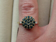 3/4Ct Natural Teal Blue & White Diamond Cluster 9K Yellow Gold Ring Size N-O/7