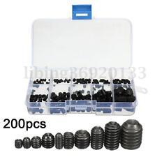 200Pcs Allen Hex Socket Cap Head Screw Set Grub Cup Point Assortment Kit Steel