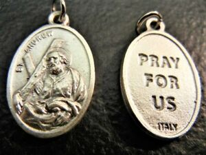 """St. Andrew 1"""" Oval Medal New! Made in Italy PRAY FOR US on reverse"""