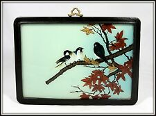 "AUTHENTIC ""Hand Painted Chinese Reverse Glass Painting of Birds in a Maple Tree"""
