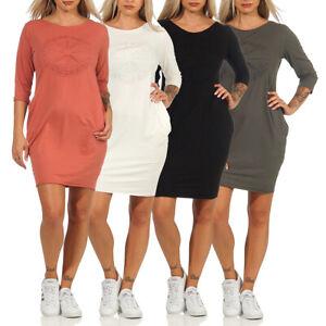 Damen Sweatkleid Sweatshirt Pullover Kleid Pullikleid Hoodie langarm Pullikleid