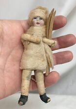 Antique Spun Cotton Bisque Face Skier Christmas Ornament Figure - 81358