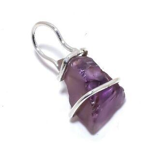 "Natural Amethyst Rough Gemstone Handmade Silver Jewelry Pendant 1.2"" PR3848"