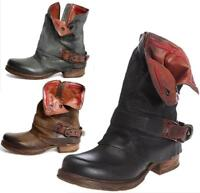 Womens Ladies Buckle Mid Calf Biker Slouch Ankle Boots Low Heel Shoes Roman Hot
