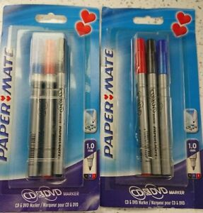 Papermate Permanent CD Markers 2 x Packs of 3 Assorted Colours.