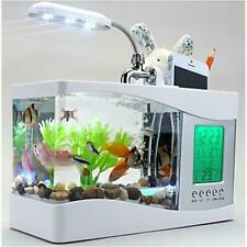 USB Desktop Aquarium Mini Fish Tank Running Water LED Light with LCD Clock White