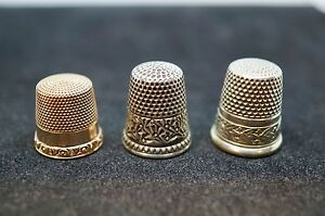 3 Antique thimbles, 10k, Sterling silver and Nickle-silver all in mint condition