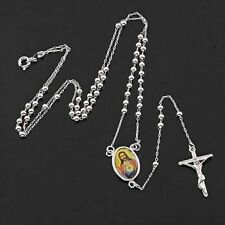 Mens Vintage Jewelry 9K Silver White Gold Filled Jesus Cross Necklace 24 Inch