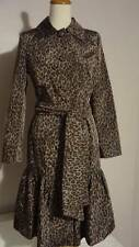 Charles Gray London Belted Trench Coat Ruffle Hem Leopard Animal Print Small