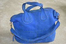 Givenchy Deep Blue Suede Nightingale Medium Womens Tote Shoulder Handbag