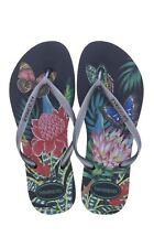 Havaianas Slim Tropical  Black Graphite Women's Summer Flip Flops All Size