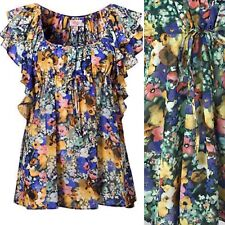H&M Garden Collection Peasant Blouse Purple Floral Dolman Sleeve Sz 2 (4-6) Used