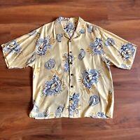 RARE Vintage Tommy Bahama Yellow Hawaiian Silk Shirt Mens XL Ukulele Print