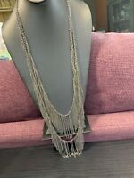 Vintage Bohemian Signed  Natasha Dangle Chain  Long Sweater Necklace Boho 40""