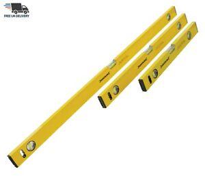 3 Pc Spirit Level Heavy Duty Aluminium 3 Vials 400,600mm & 1000mm Level Set