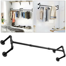 120cm Industrial Pipe Drying Rack Wall-mounted Detachable Retro Clothing Pole AU