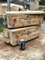 2x Ex Army Military Wooden Ammo Box Ammunition Chest Jeep Tools Vehicle Storage