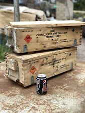 More details for 2x ex army military wooden ammo box ammunition chest jeep tools vehicle storage