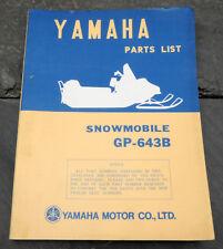 Original 1973 Yamaha GP-643B Snowmobile Parts List/Manual LIT-10018-47-00 GP643B