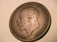 1927 Great Britain 1 Penny VF+/aEF Original Tone George V Bronze British UK Coin