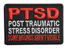 PTSD Some Wounds Are Not Visible Iron On Patch - Biker Military Veteran 049-N