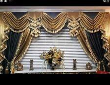 DESIGNER CURTAINS . SWAGS, TAILS , PELMET HEAVILY TASSELLED BLACK GOLD