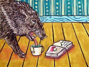 javelina art  modern folk pop painting 13x19  gift library book ar GLOSSY PRINT