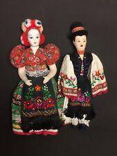 "17"" Vtg Hungarian Matyo Bridal Couple Dolls National Ethnic Costume Embroidered*"