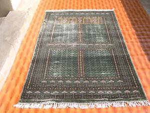 Green Silk Oriental Rug Home Decor Carpet 4'x6' Hand Knotted Striped Design